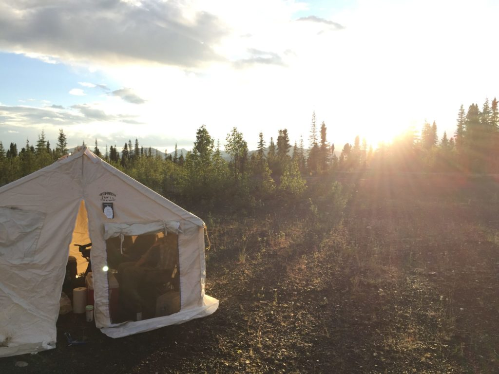 Tent in a forest with sun rising in background