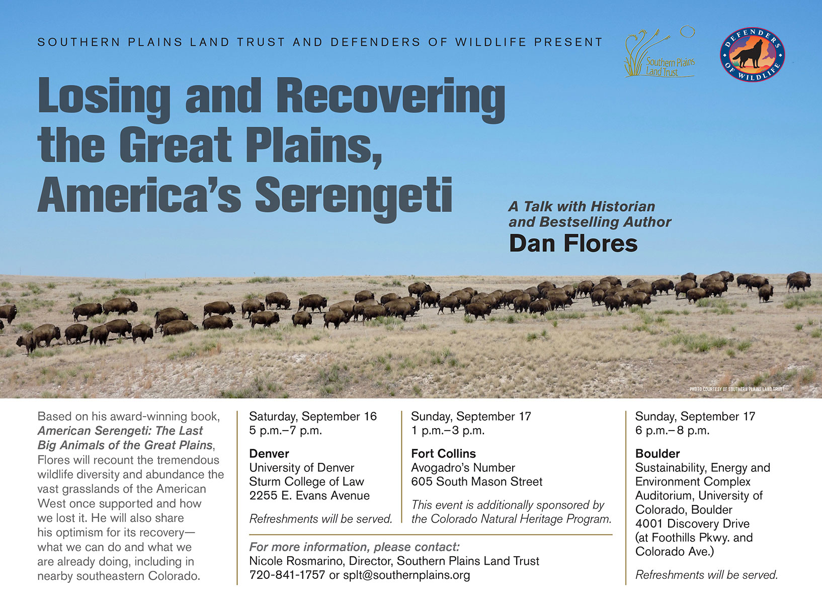 Dan Flores talk series promotion poster