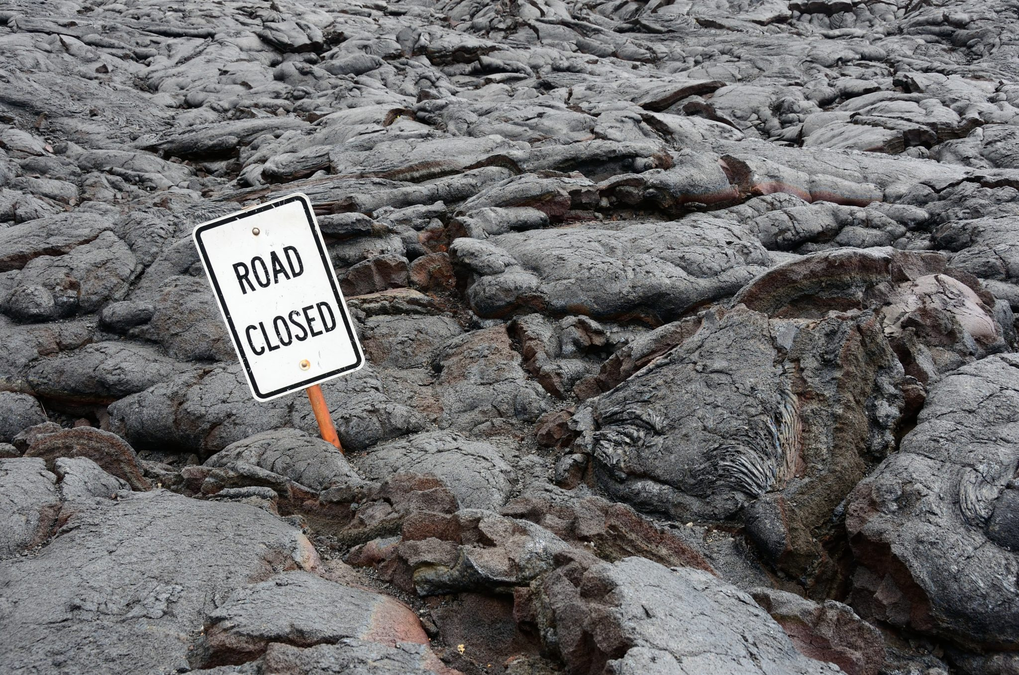 cool lava flow over road in Hawaii