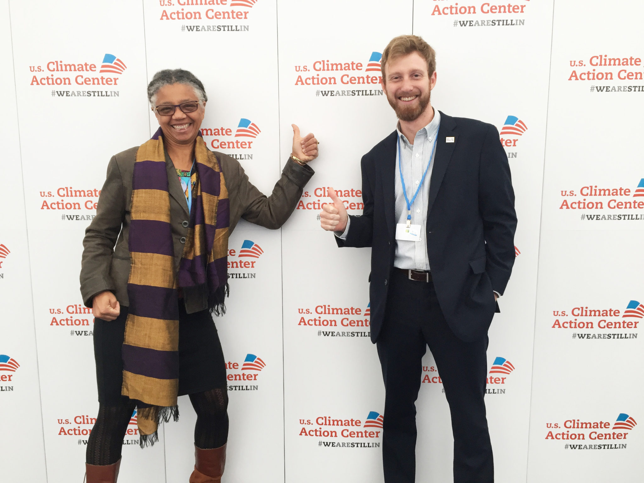 a color photo of researcher Gillian Bowser and graduate student Jakob Lindaas at the Bonn climate talks 2017