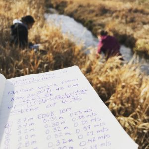 color photo of a notebook with stream measurements, and researchers in the background