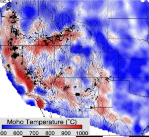 color photo of a graphic showing temperatures of the Earth's lower crust in the Rocky Mountains