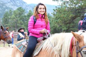 women from training class on horseback