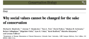 "screen shot of ""Why Social Values Cannot Be Changed for the Sake of Conservation"""