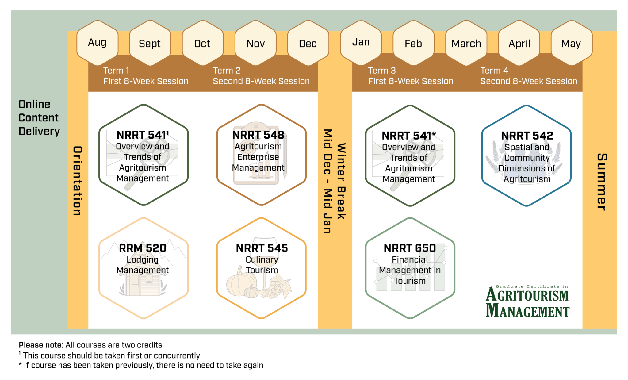 image depicting curriculum map, highlighting available courses and order of completion