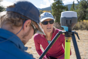 Sara Rathburn setting up sensors for drone imaging of the Pingree Valley