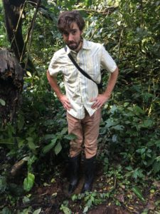 Ecologist Jon Salerno stands in an elephant print.