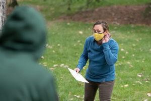 Monique Rocca teaching a class outdoors