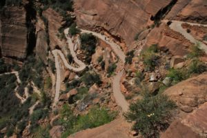 Visitors climb Angel's Landing in Zion National Park