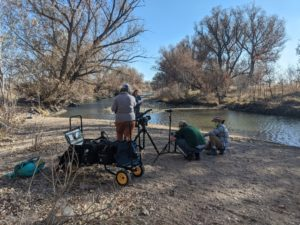 Video team from CSU online sets up to film a segment of the virtual field trip. Photo: Jemma Fadum