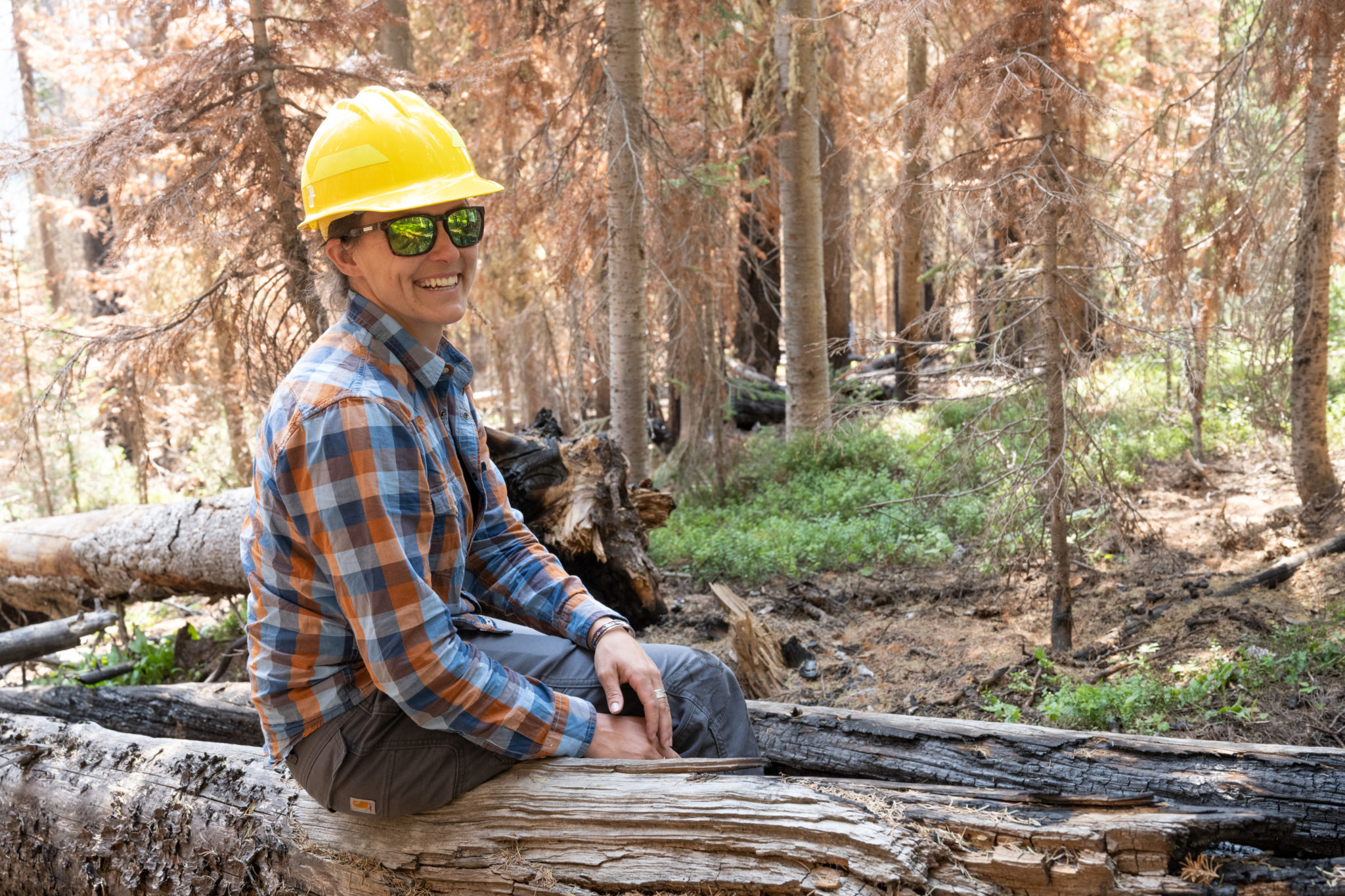 Camille Stevens-Rumann, Assistant Professor of Forest and Rangeland Stewardship and Assistant Director of the CFRI, does research on the burn scar from the Cameron Peak Fire. July 20, 2021